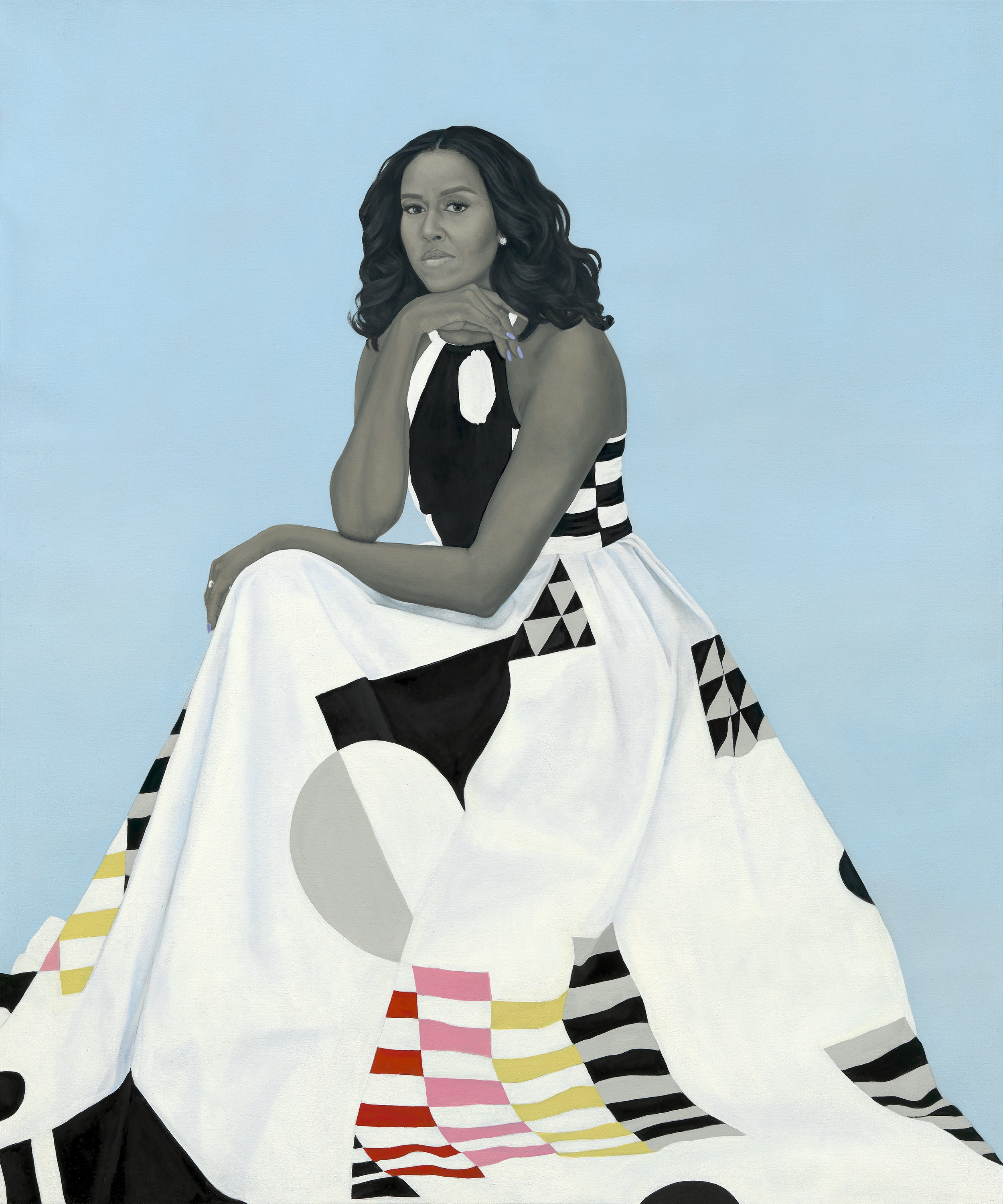 _Michelle LaVaughn Robinson Obama_ by Amy Sherald, oil on linen, 2018. National Portrait Gallery, Smithsonian Institution. The National Portrait Gallery is grateful to the following lead donors for their support of the Obama portraits: Kate Capshaw and Steven Spielberg; Judith Kern and Kent Whealy; Tommie L. Pegues and Donald A. Capoccia.