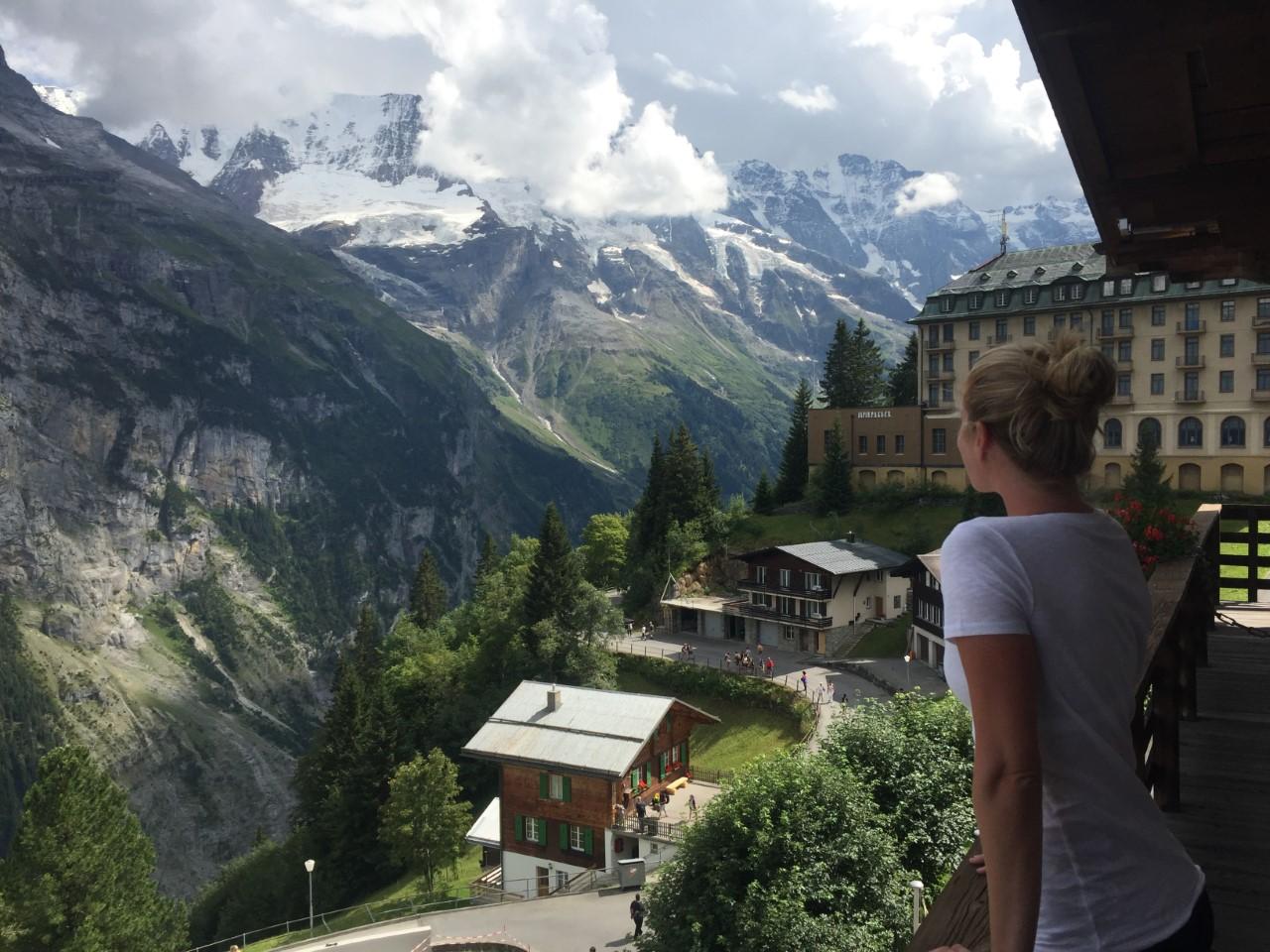 Sarah Arison on her honeymoon in the Swiss Alps, 2016.