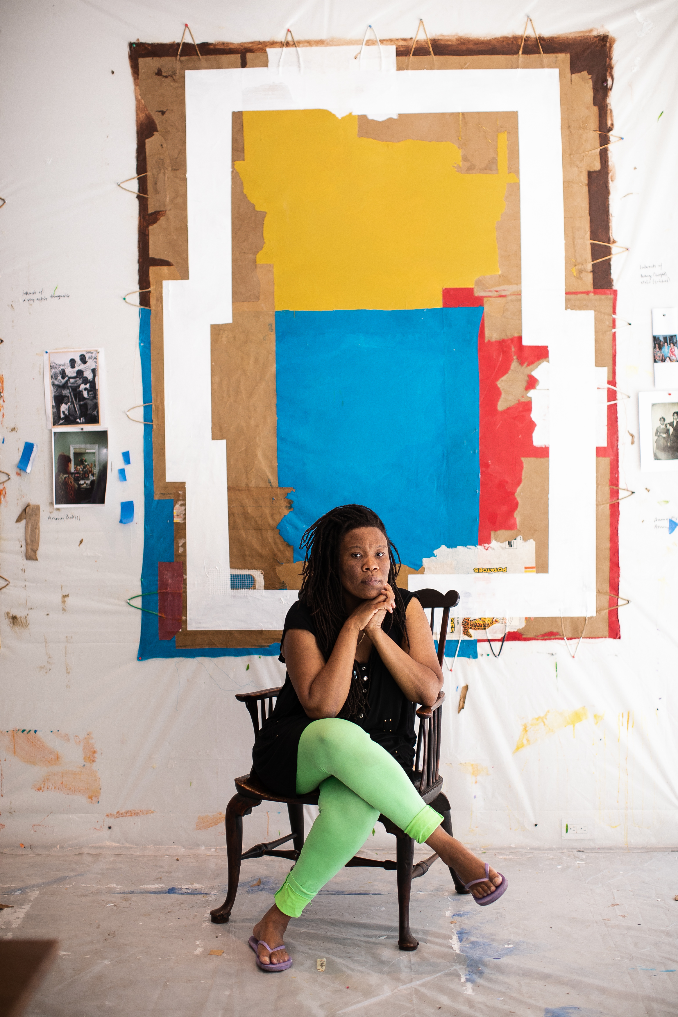 Tomashi Jackson (born 1980, Houston, TX) in her studio at The Watermill Center, June 2021. Photo: Copyright Jessica Dalene, courtesy of The Watermill Center.