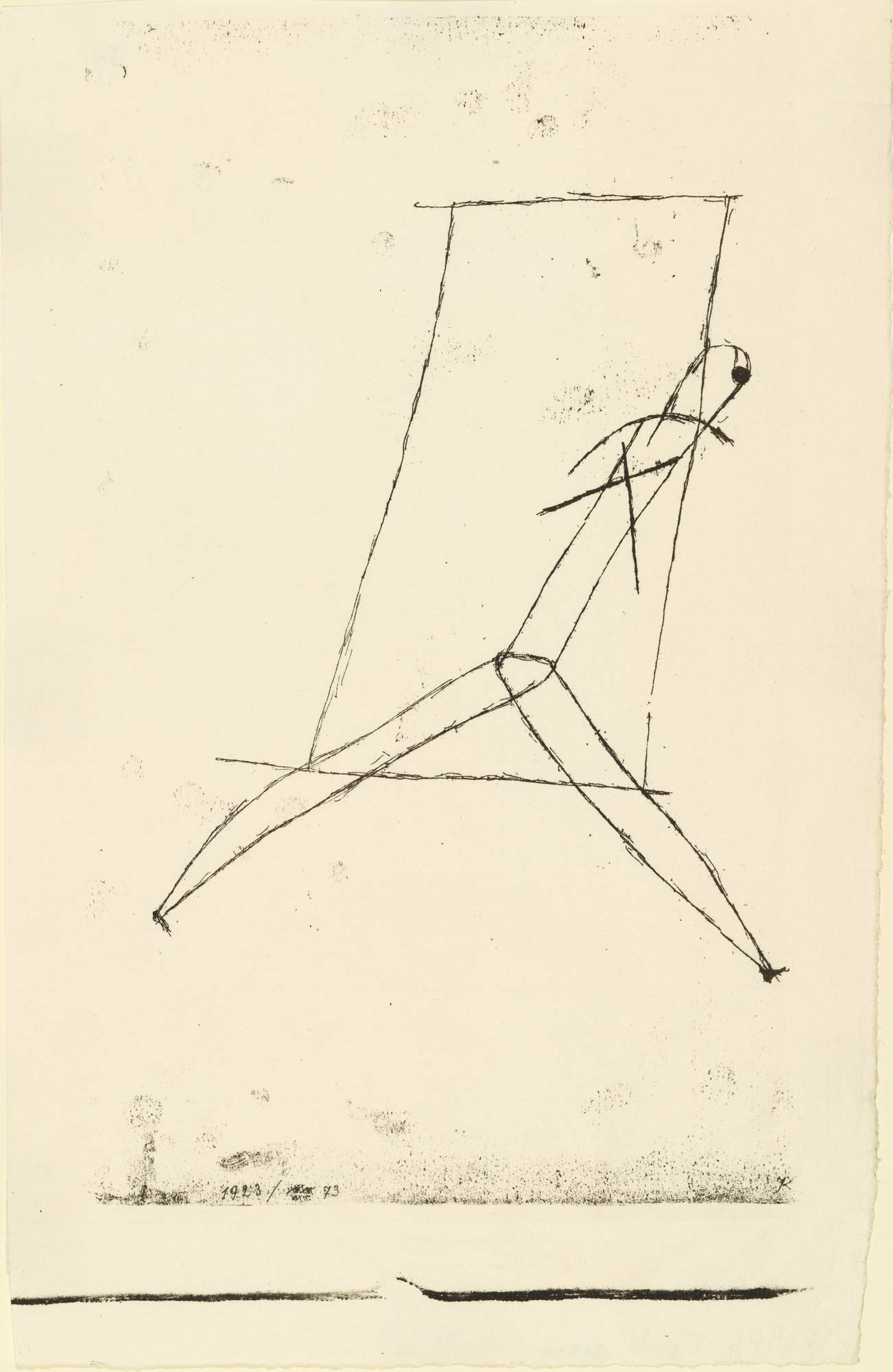Paul Klee (German, born Switzerland. 1879–1940). Striding Out. 1923. Lithograph. composition (irreg.): 10 1/8 x 6 1/8″ (25.7 x 15.5 cm); sheet (irreg.): 11 11/16 x 7 11/16″ (29.7 x 19.5 cm). Publisher: unpublished. Printer: Staatliches Bauhaus, Weimar. Edition: approx. 6. The Museum of Modern Art, New York. Gift of Victor S. Riesenfeld. © 2021 Artists Rights Society (ARS), New York / VG Bild‑Kunst, Bonn. 339.1948.